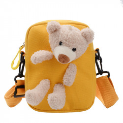 Сумка детская, сумка через плечо, желтая. Мишка Тедди.