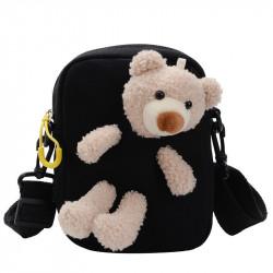 Сумка детская, сумка через плечо, черная. Мишка Тедди.