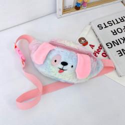 Сумка меховая детская, поясная сумка, голубо-розовая. Щенок.