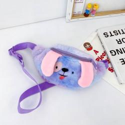 Сумка меховая детская, поясная сумка, сине-фиолетовая. Щенок.