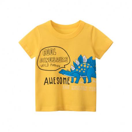Футболка для мальчика, желтая. Дикий стегозавр.