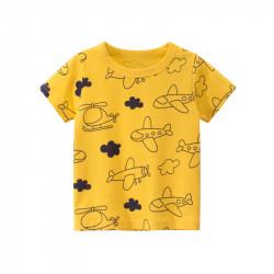 Футболка для мальчика, желтая. Самолеты и вертолеты.