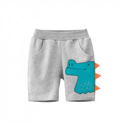Шорты для мальчика, серые. Профиль динозавра.