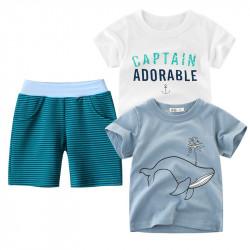 Комплект 3 в 1 для мальчика, бело-серый. Сaptain и кит.