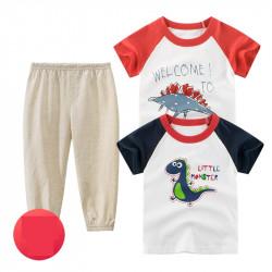 Комплект 3 в 1 для мальчика, бело-бежевый. Тирекс и стегозавр.