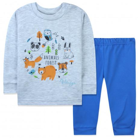 Пижама для мальчика, серая. Лесные животные.