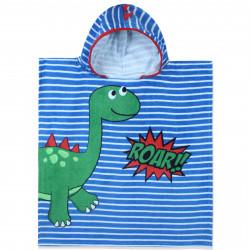 Полотенце-пончо, пончо, синие. Малыш стегозавр. 60*60 см. Хлопок.