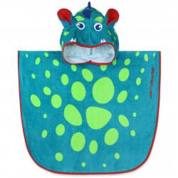 Полотенце-пончо для малышей, бирюзовое. Китайский дракон. 50*50 см. Хлопок.
