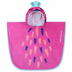 Полотенце-пончо для малышей, розовое. Попугайчик. 50*50 см. Хлопок.