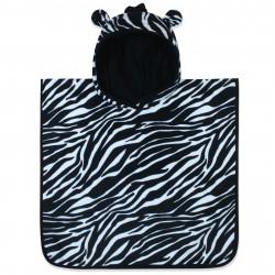 Полотенце-пончо для малышей, черное. Зебра. 50*50 см. Хлопок.