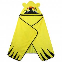 Полотенце махровое с капюшоном, желтое. Тигрик. 70*140 см.