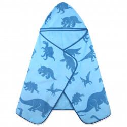 Полотенце махровое с капюшоном, голубое. Виды динозавров. 70*140 см.