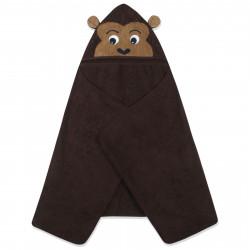Полотенце махровое с капюшоном, коричневое. Мартышка. 70*140 см.