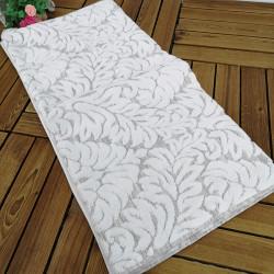 Полотенце банное, бело-серое. Листья. 70*140 см. Хлопок.