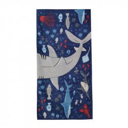 Полотенце банное, темно-синее. Акулы и рыбки. 75*150 см. Хлопок.