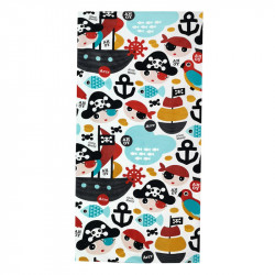 Полотенце банное, белое. Пираты и корабли. 75*150 см. Хлопок.