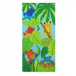 Полотенце банное, зеленое. Тропические лягушки. 75*150 см. Хлопок.