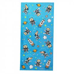Полотенце банное, синее. Песики - космонавты. 75*150 см. Хлопок.