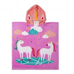 Полотенце пончо, розовое. Парочка единорогов. 60*70 см.