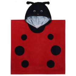 Полотенце-пончо, пончо, красное. Божья коровка. 60*60 см.