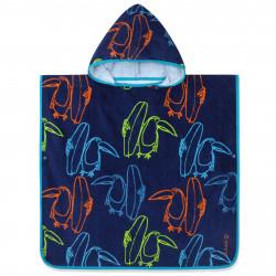 Полотенце-пончо, пончо, темно-синее. Тукан и серфборд. 60*60 см.