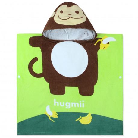 Полотенце-пончо, пончо, салатовое. Мартышка и бананы. 60*60 см. Хлопок.