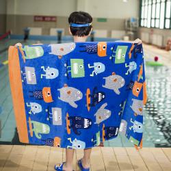 Полотенце банное, синее. Монстрики на скейтбордах. 80*160 см. Хлопок.
