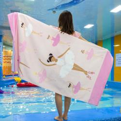 Полотенце банное, розовое. Балеринки. 80*160 см. Хлопок.