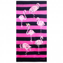 Полотенце банное, розовое. Нежные фламинго. 80*160 см. Хлопок.