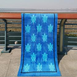 Полотенце банное, синее. Черепашки. 80*160 см. Хлопок.