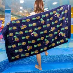 Полотенце банное, темно-синее. Ананасы и туканы. 80*160 см. Хлопок.