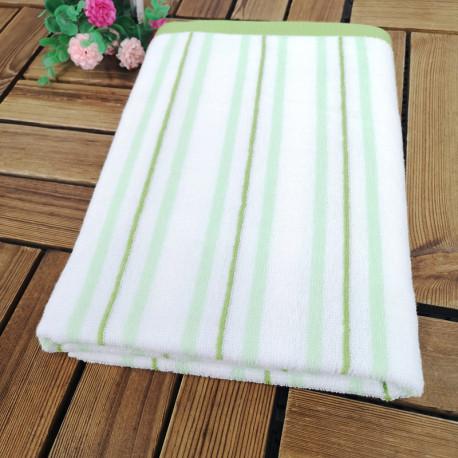 Полотенце банное, бело-зеленое. Полоска. 60*120 см. Хлопок.