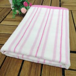 Полотенце банное, бело-розовое. Полоска. 60*120 см. Хлопок.