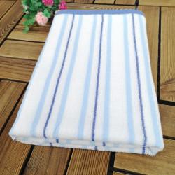 Полотенце банное, бело-синее. Полоска. 60*120 см. Хлопок.
