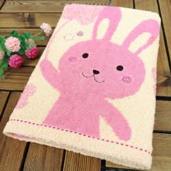 Полотенце банное, розовое. Зайчишка. 60*120 см. Хлопок.