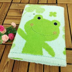 Полотенце банное, зеленое. Лягушонок. 60*120 см. Хлопок.