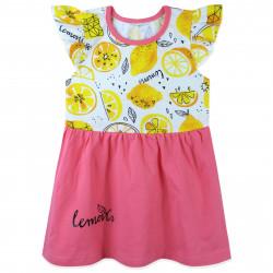 Платье для девочки, бело-розовое. Сочные лимоны.
