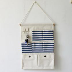 Подвесной органайзер с карманами, синий. Полосочка и пуговицы. (7 карманов)