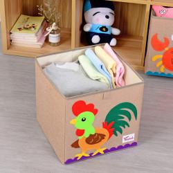 Складной ящик для игрушек, бежевый. Петушок.
