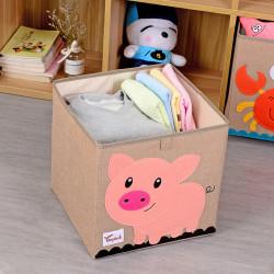 Складной ящик для игрушек, бежевый. Поросенок.