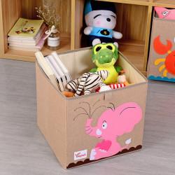 Складной ящик для игрушек, бежевый. Розовый слоник.