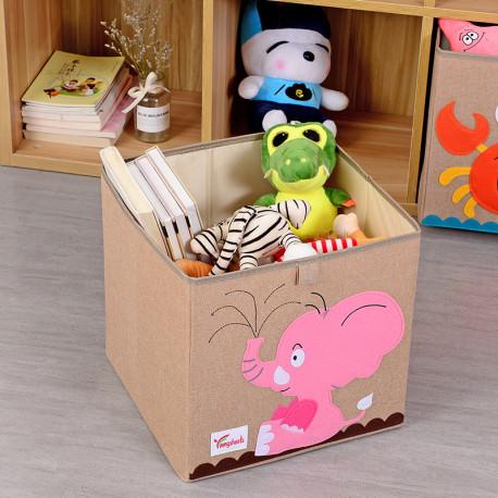 Складной ящик для игрушек, коричневая. Попугай.