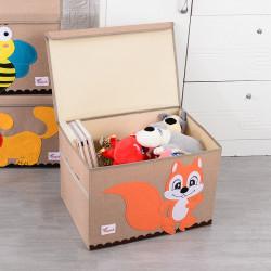 Складной ящик для игрушек с крышкой, бежевый. Белка.
