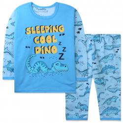Пижама для мальчика, голубая. Спящий динозавр.