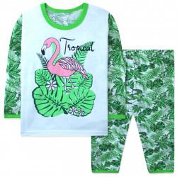 Пижама для девочке, зеленая. Фламинго в тропиках.