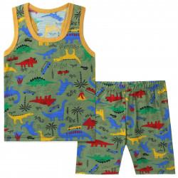 Костюм для мальчика, зеленый. Динозавры и вулкан.
