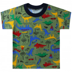 Футболка для мальчика, зеленая. Динозавры и вулкан.