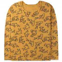 Кофта для мальчика, реглан, желтая. Акулы.