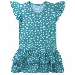 Платье для девочки, бирюзовое. Крапинки.