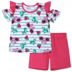 Костюм 2 в 1 для девочки, бело-розовый. Сочное лето.